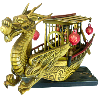 Vintage Asian Dragon Junk Boat With Geisha Girls and Boatman - Resin or Celluloid Boat - 50s
