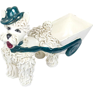 Vintage 50s Spaghetti Poodle Planter with Cart - Made in Italy - Signed and Numbered Active
