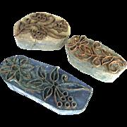Three Vintage Wood Textile Stamps - Sari Stamps , Vintage Block Printing Stamp - Batik Stamps