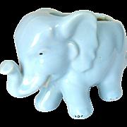 50s Blue Ceramic Elephant Planter - Lucky Trunk Up Ellie