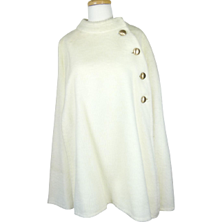 1950s/60s Off White/Ivory Wool Cape Coat - Poncho