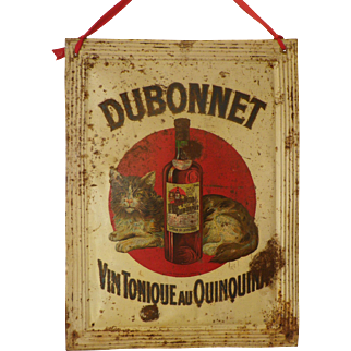 French 'DUBONNET' Toleware Advertising Sign Early 1900's