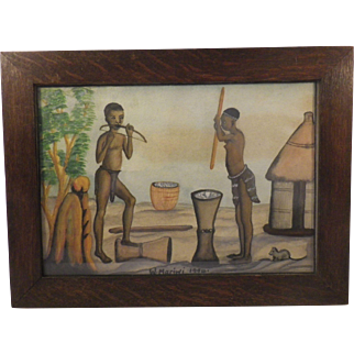 Set of 5 African Naive Paintings, Signed W.Mariwi 1954