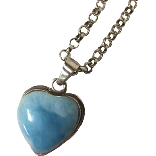 925 Sterling Heart Pendant with Blue Amazonite Stone