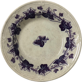 Ironstone Bowl - Violet/Purple Ivy Pattern