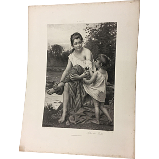 1882 After the Bath Photogravure, A. Delobbe