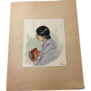 1940s Watercolor, Pen & Ink - Southwest Woman with Pottery Bowl