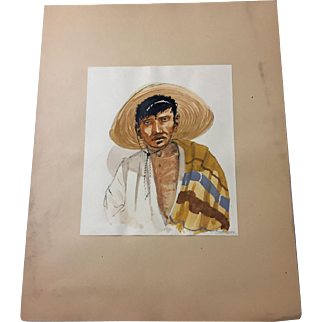 1940s Watercolor, Pen & Ink - Mexican male