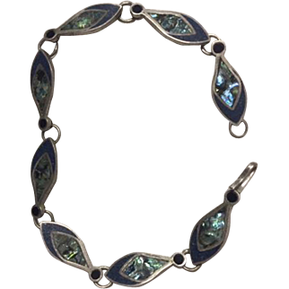 925 Sterling Taxco Bracelet with Mother of Pearl