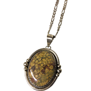 Navajo Sterling Pendant with Leapordskin Jasper Stone and 925 Italy Figaro Chain