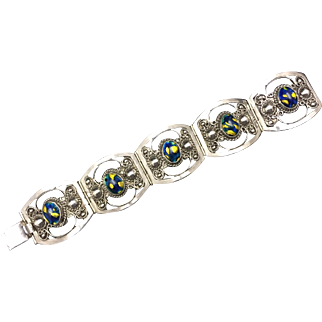 925 Sterling Bracelet with Blue/Gold Glass Insets