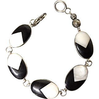 Sterling Bracelet, Black Onyx and Mother of Pearl