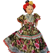 """Papier Mache 16"""" Doll c1920's in Traditional Clothing"""