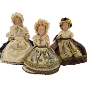 Three Beautifully Dressed Vintage Celluloid Doll House Dolls c1900's