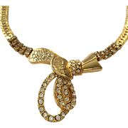 Gold plated Art Deco style necklace with rhinestones