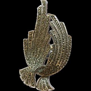 Vintage Art Deco Style marcasite brooch Sphinx of England