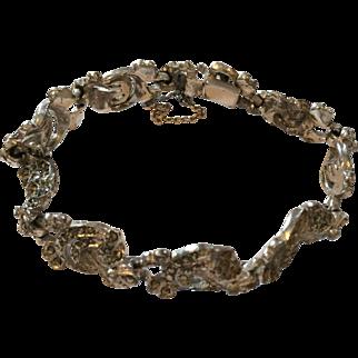 Vintage ornate rhodium plated marcasite bracelet