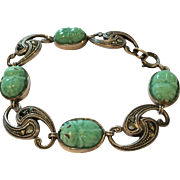 Art Deco 935 silver jadeite and marcasite linked bracelet
