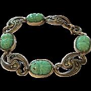 Art Deco 935 silver jadeite and marcasite linked bracelet