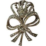 Vintage Silver and Marcasite Art Deco style brooch