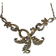 Silver and Marcasite Art Deco pendant necklace