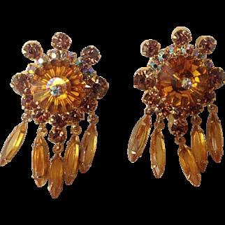 Juliana D&E Amber Margarita Rhinestone Dangle Clip Earrings