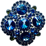 Juliana D&E Massive Peacock Blue Rivoli and Rhinestone Vintage Brooch