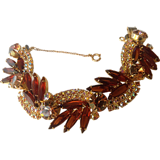 Juliana D&E Amber-Brown Sunburst Rhinestone 5-Link Bracelet
