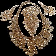 Juliana D&E Drippy Rhinestone Dangle Heart-Scroll Filigree Bib Necklace, Brooch, Earring Set