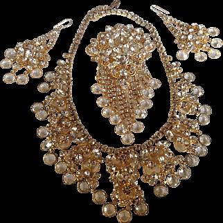 Juliana D&E KJL Drippy Crystal Rhinestone Dangle Heart-Filigree Bib Necklace, Brooch, Earring Set