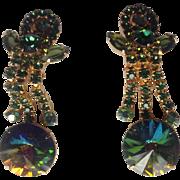 Juliana D&E Green Watermelon Rivoli and Rhinestone Vintage Drop Dangle Clip Earrings