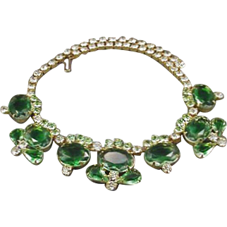 Juliana D&E Vintage Green Givre Stone and Rhinestone Skip Link Necklace