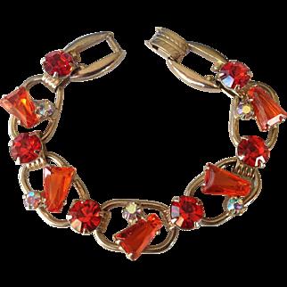 Juliana Tangerine Orange Keystone Rhinestone 5-Link Bracelet