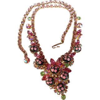 Juliana D&E Pink Sugar Bead Polka Dot Rhinestone Bib Necklace