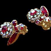 """Juliana D&E Red Rhinestone Vintage """"owl"""" Earrings"""