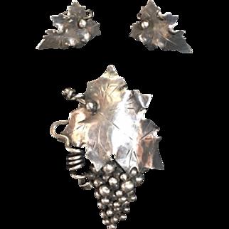 A Manca Handwrought Sterling Grapeleaf Brooch & Earring Set