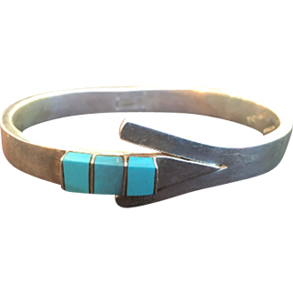 Vintage Mexican Sterling Silver & Turquoise Hinged Bracelet