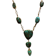 Native American 14k Gold and Turquoise Necklace