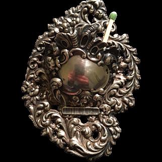 Antique Sterling Silver Shiebler Victorian Wall Mounted Match Safe & Striker 1880s - 1900