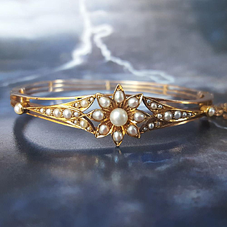Antique Victorian Pearl Flower Bangle Bracelet in 14K Gold