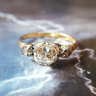 Antique Georgian Rose Cut Diamond Three Stone Engagement Ring in 22K Gold US 5