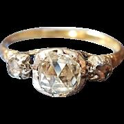 Antique Georgian Rose Cut Diamond Three Stone Engagement Ring in 22K Gold US 5