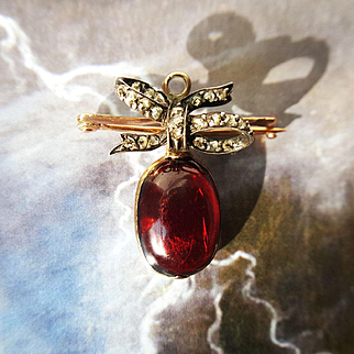 Antique Victorian Garnet Carbuncle and Diamond Bow Hair Locket Pendant or Brooch in 15K Gold and Sterling Silver