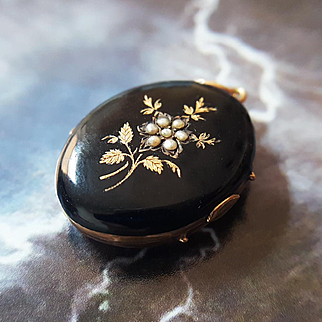 Antique Victorian Flower Mourning Locket in 14K Gold and Black Enamel with Seed Pearls