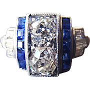 Vintage Art Deco Engagement Ring in 900 Platinum with Old Mine Cut Diamonds and Calibre Cut Sapphires US 4 1/2