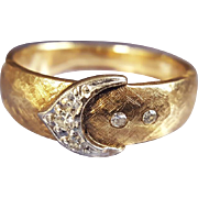 Vintage Retro Buckle Ring Wedding Band in 14K Yellow Gold with Diamonds and White Gold Accents 1950s US 5 3/4
