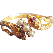Art Nouveau Snake Ring with Pearls and Ruby Cabochon Eyes in 14K Gold Engagement Ring or Wedding Band US 8 1/4