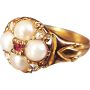 Antique Victorian Pearl Ruby and Diamond Forget-Me-Not-Mourning Ring with Chasing in 18K Gold US 5