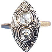 Vintage Art Deco Diamond Navette Engagement Ring with Old Mine Cut Diamonds in 18K Gold and Platinum US 6 1/2