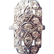 Vintage Art Deco Dinner Ring Cocktail Ring Statement Ring in Diamonds and 900 Platinum US 5 1/4